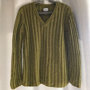 Chico's V Neck Sweater in Olive Mustard Green